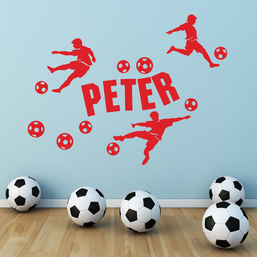 Wall Sticker - Personalised Football Vinyl Wall Art Sticker, Mural, Decal - Any Name