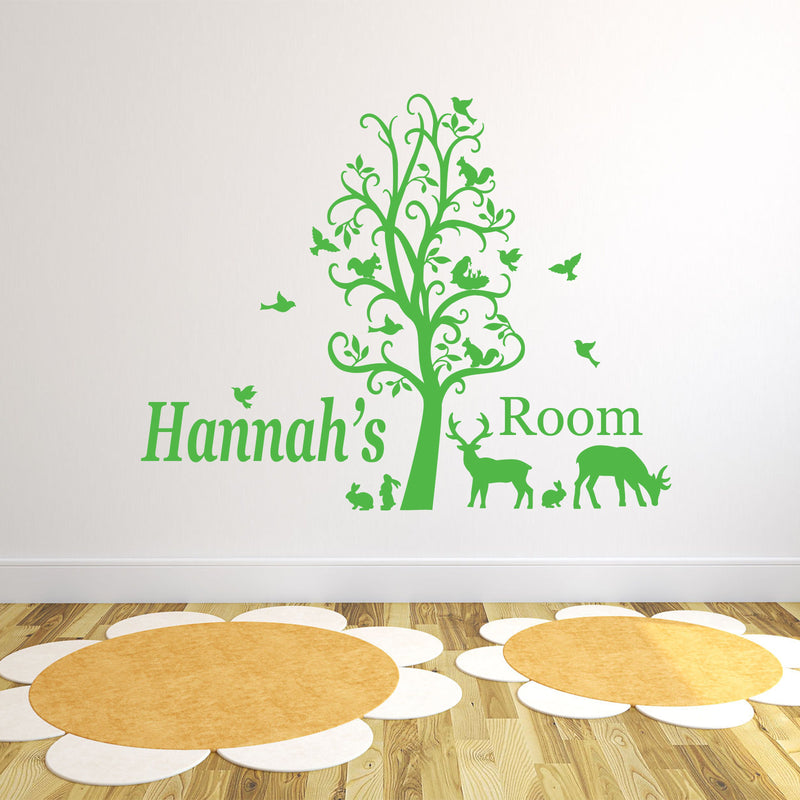 Wall Sticker - Personalised Forest Animals And Tree Vinyl Wall Art Sticker, Mural, Decal - Any Name