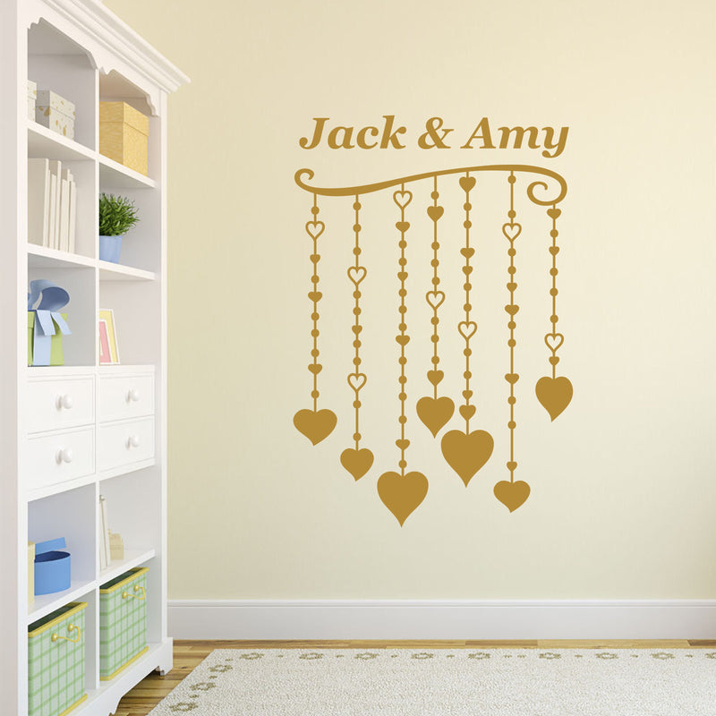 Wall Sticker - Personalised Hanging Hearts Vinyl Wall Art Sticker, Mural, Decal - Any Name