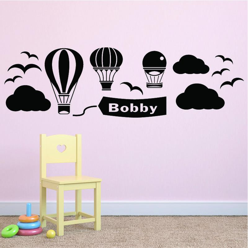 Wall Sticker - Personalised Hot Air Balloon Vinyl Wall Art Sticker, Mural, Decal - Any Name
