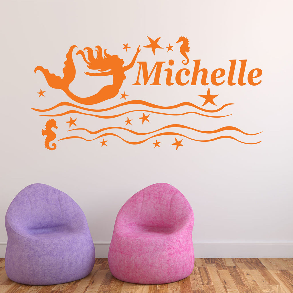 Wall Sticker - Personalised Mermaid Vinyl Wall Art Sticker, Mural, Decal - Any Name