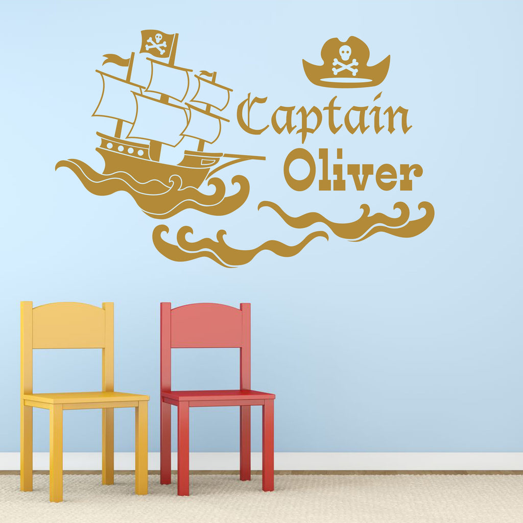 Wall Sticker - Personalised Pirate Ship Vinyl Wall Art Sticker, Mural, Decal - Any Name