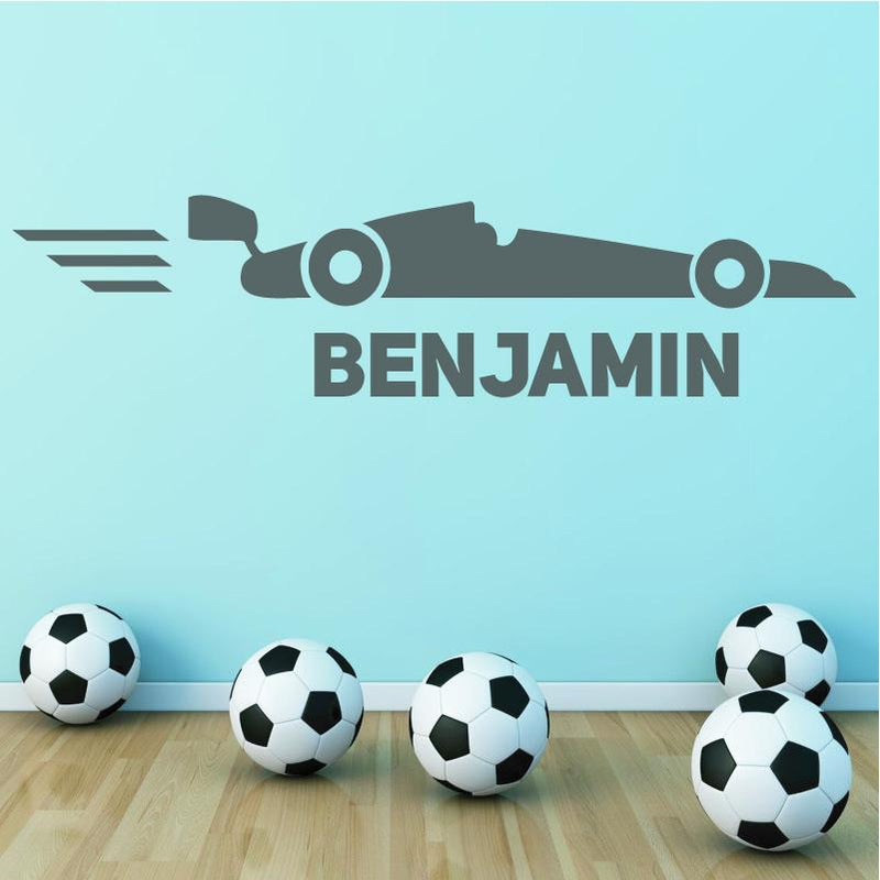 Wall Sticker - Personalised Racing Car Vinyl Wall Art Sticker, Mural, Decal - Any Name