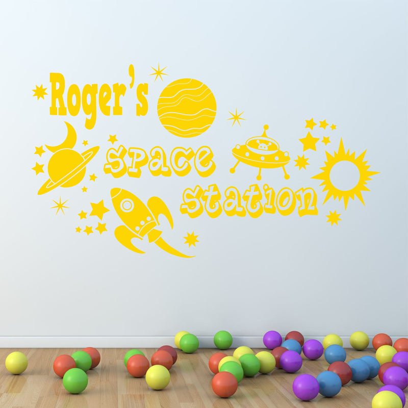 Wall Sticker - Personalised Space Rocket & Planets Vinyl Wall Art Sticker, Mural, Decal - Any Name