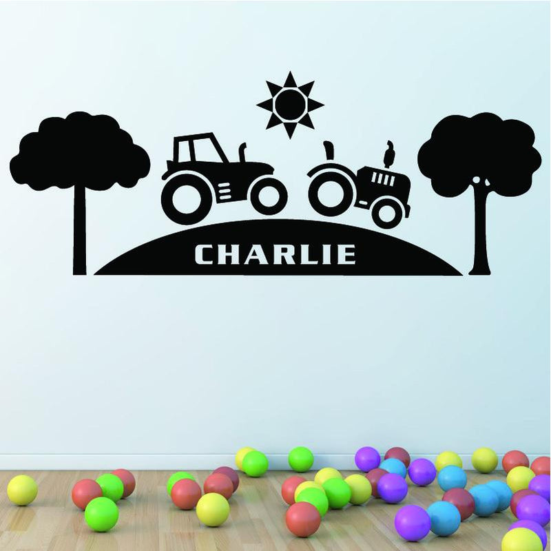 Wall Sticker - Personalised Tractor Vinyl Wall Art Sticker, Mural, Decal - Any Name