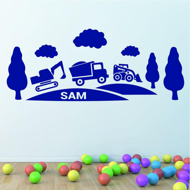 Wall Sticker - Personalised Truck And Diggers Vinyl Wall Art Sticker, Mural, Decal - Any Name