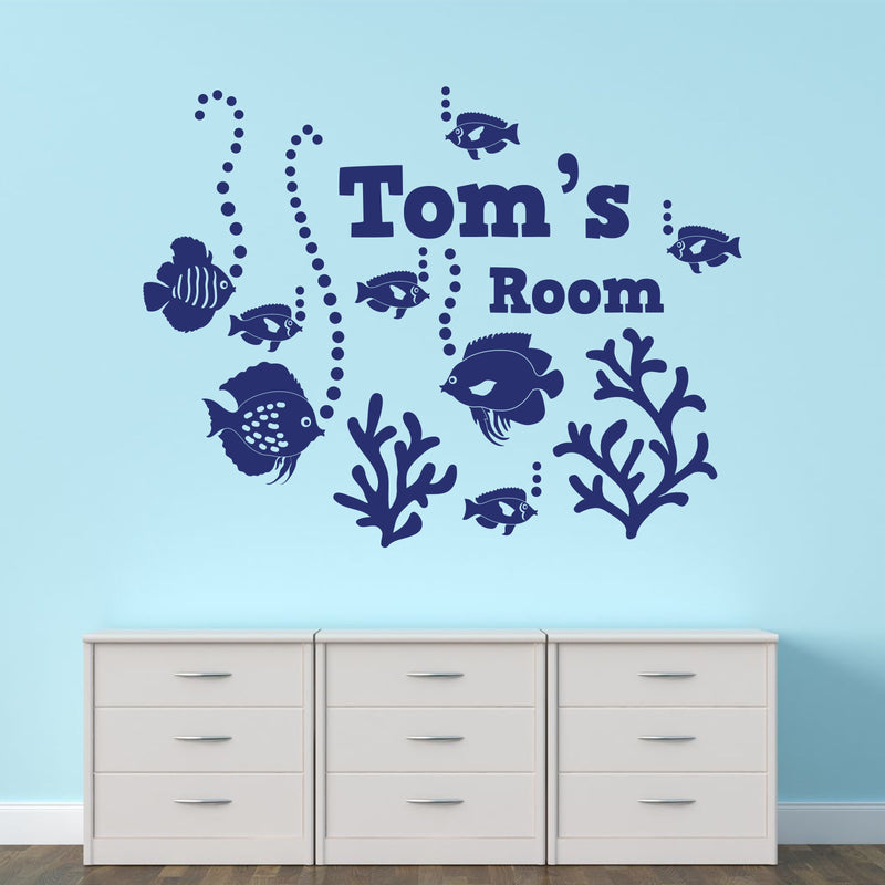 Wall Sticker - Personalised Under The Sea Vinyl Wall Art Sticker, Mural, Decal - Any Name