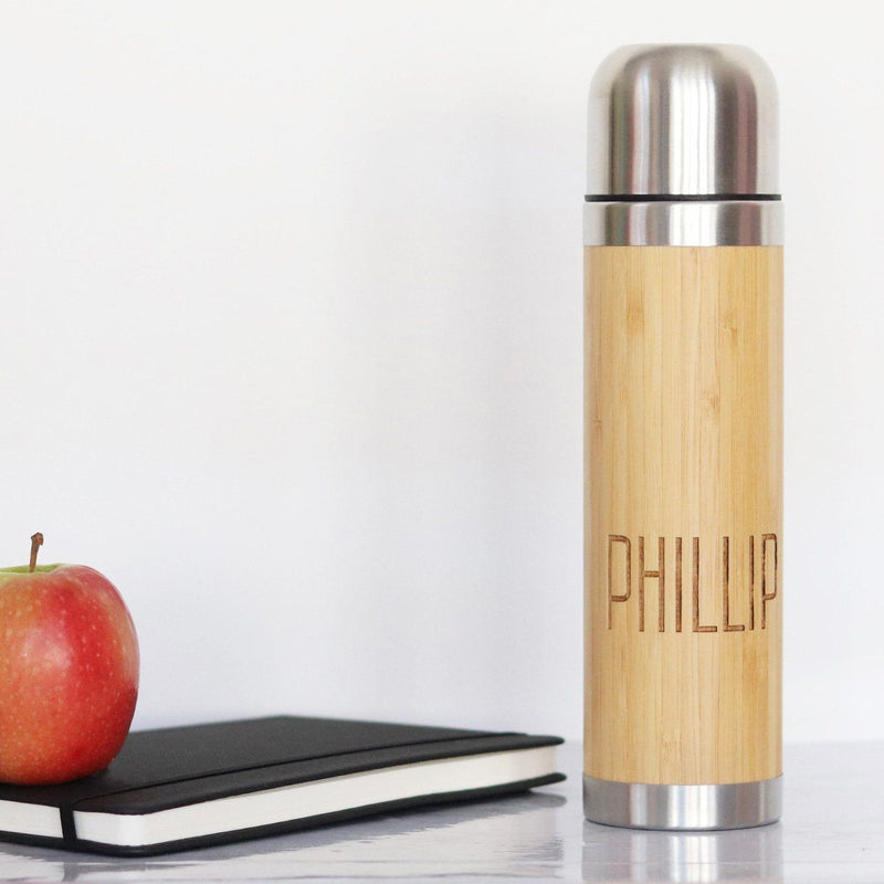 Water Bottle - Personalised Insulated Bamboo Drinks Flask