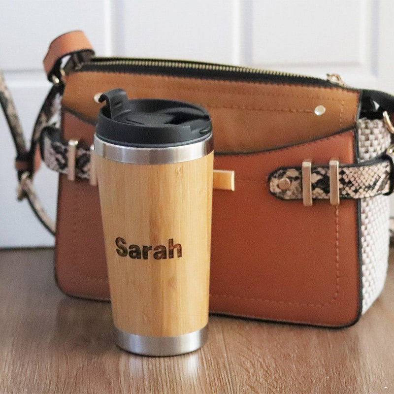 Water Bottle - Personalised Insulated Bamboo Travel Mug