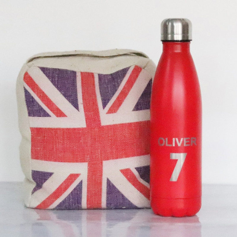 Water Bottle - Personalised Insulated Drinks Bottle - Player Number