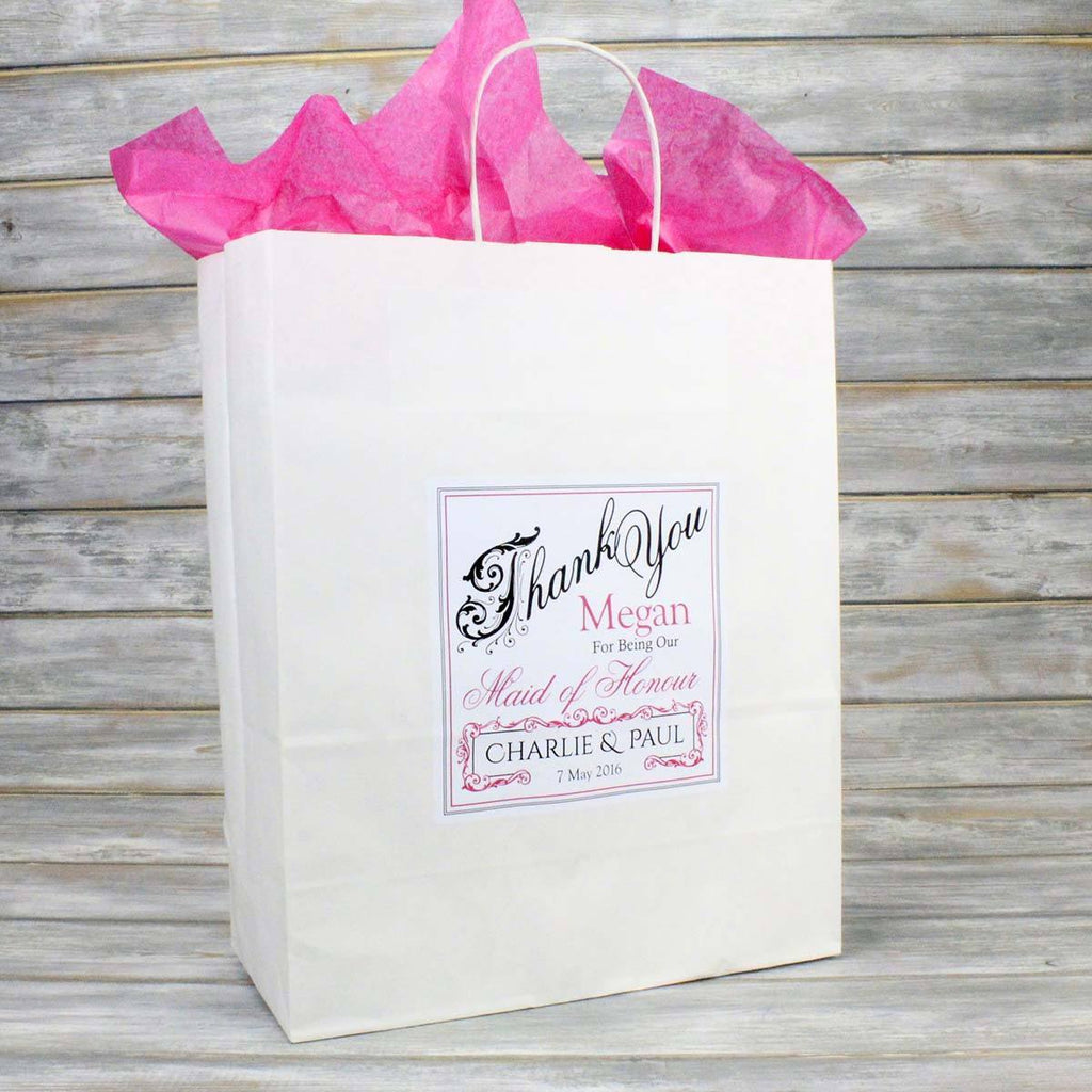 Personalised Wedding Favour Gift Bags, Bridesmaid Page Boy