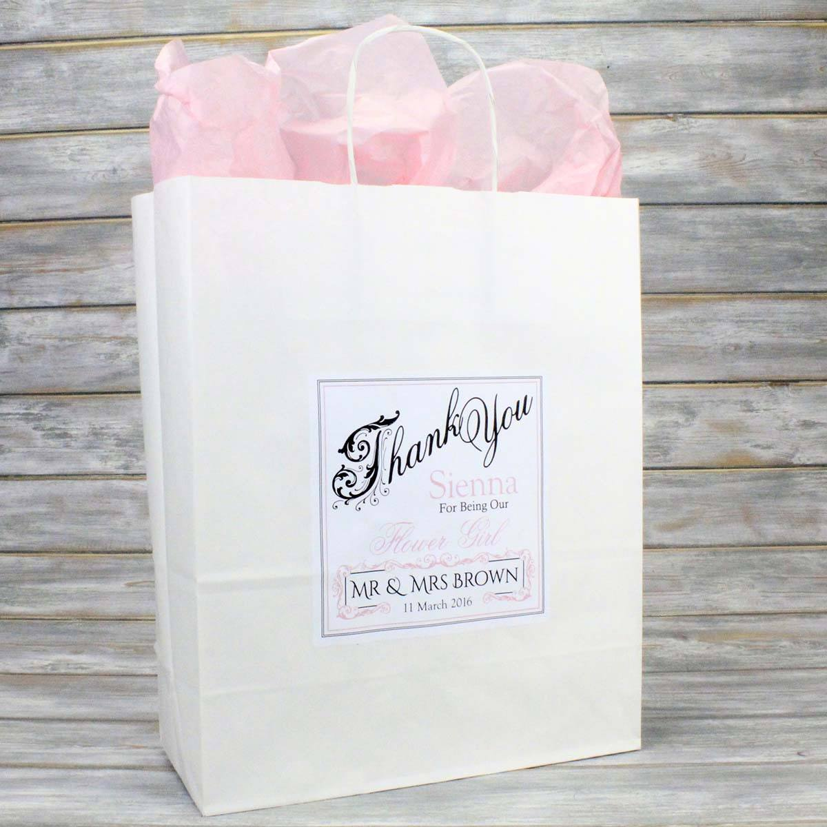 Personalised Wedding Favour Gift Bags, Bridesmaid Page Boy Flower Girl