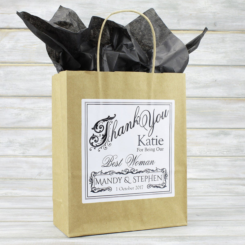 Wedding Favour Bag - Personalised Vintage Style Wedding Favour Gift Bag - Bridesmaid, Usher, Page Boy, Flower Girl