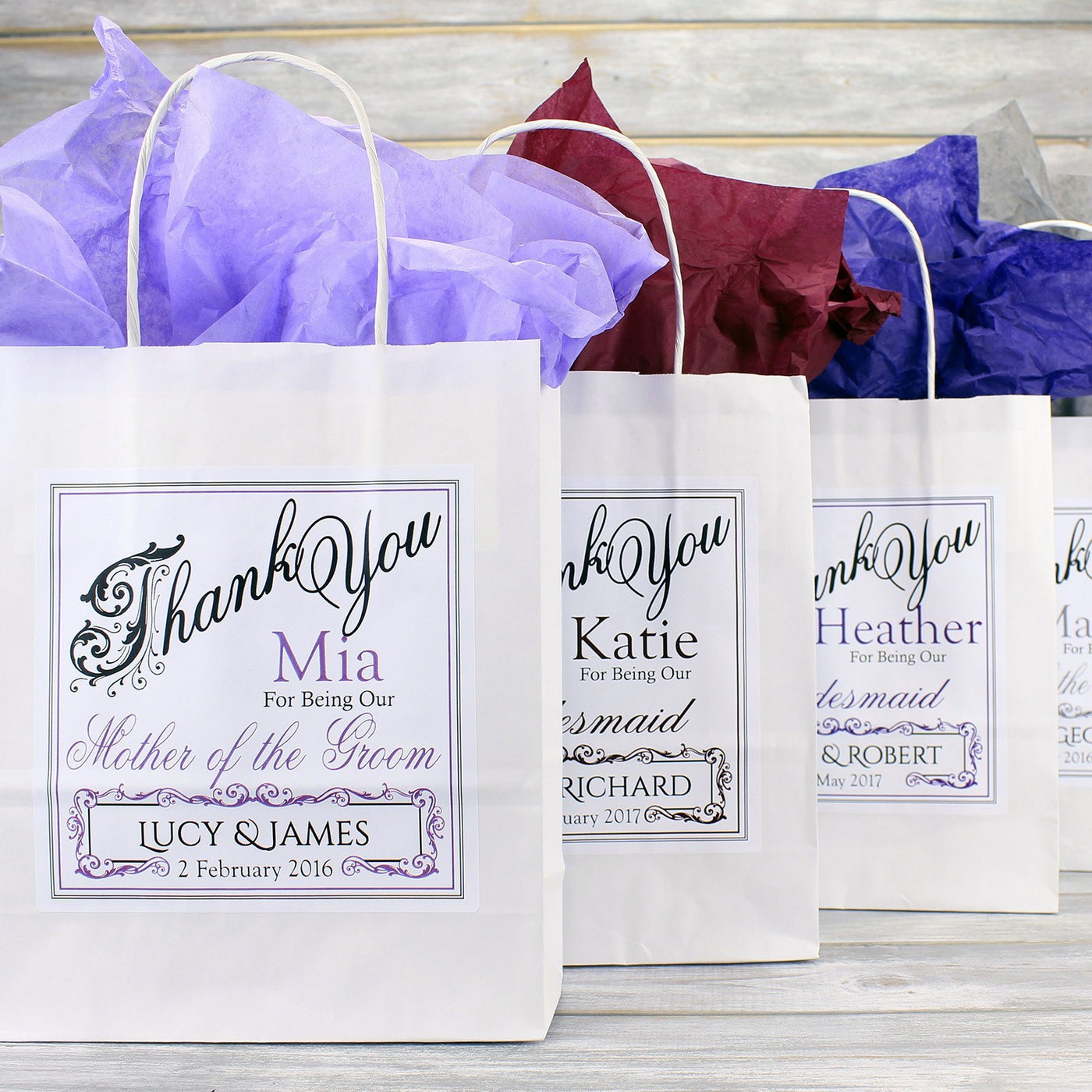 Personalised Wedding Favour Gift Bags Bridesmaid Page Boy Flower