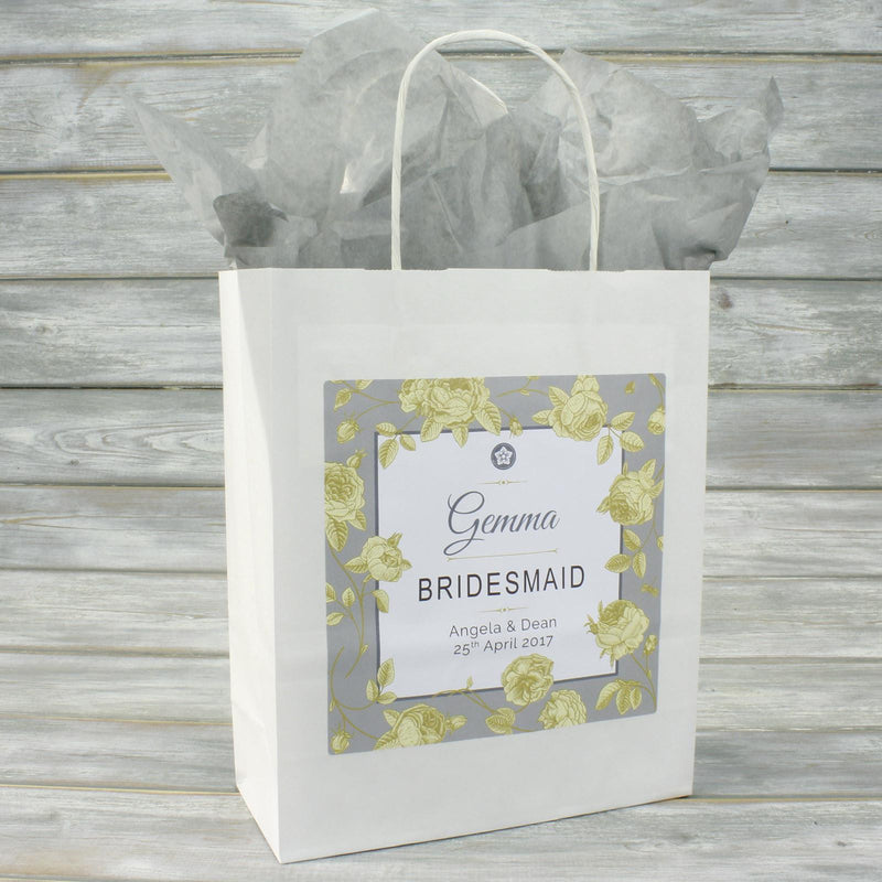 Wedding Favour Bag - Personalised Wedding Favour Gift Bag - Gold Roses