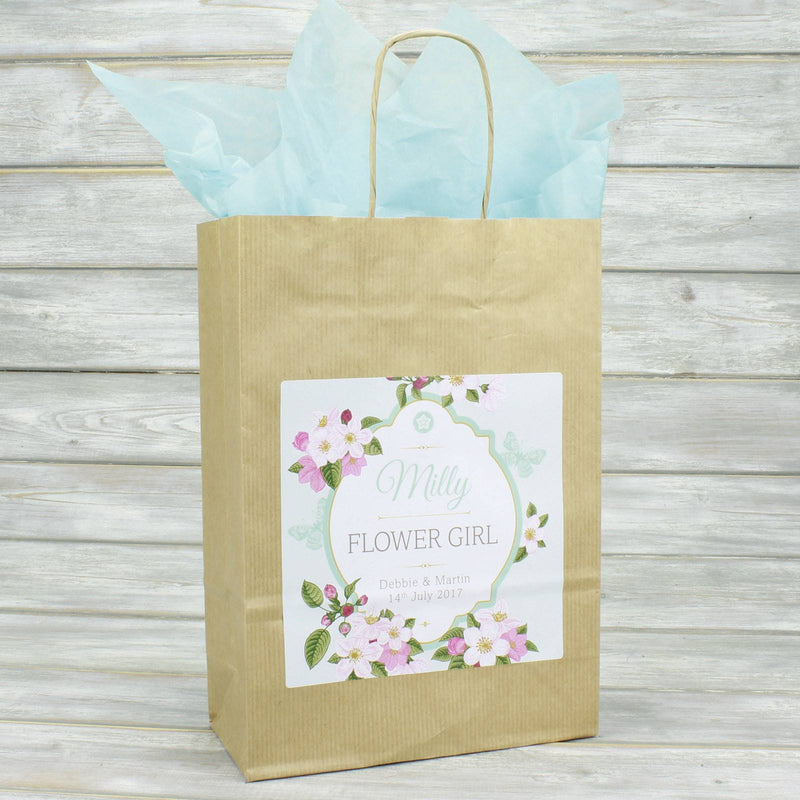 Wedding Favour Bag - Personalised Wedding Favour Vintage Brown Gift Bag - Butterfly