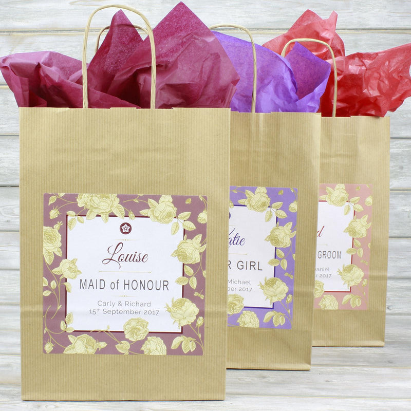 Wedding Favour Bag - Personalised Wedding Favour Vintage Brown Gift Bag - Gold Roses