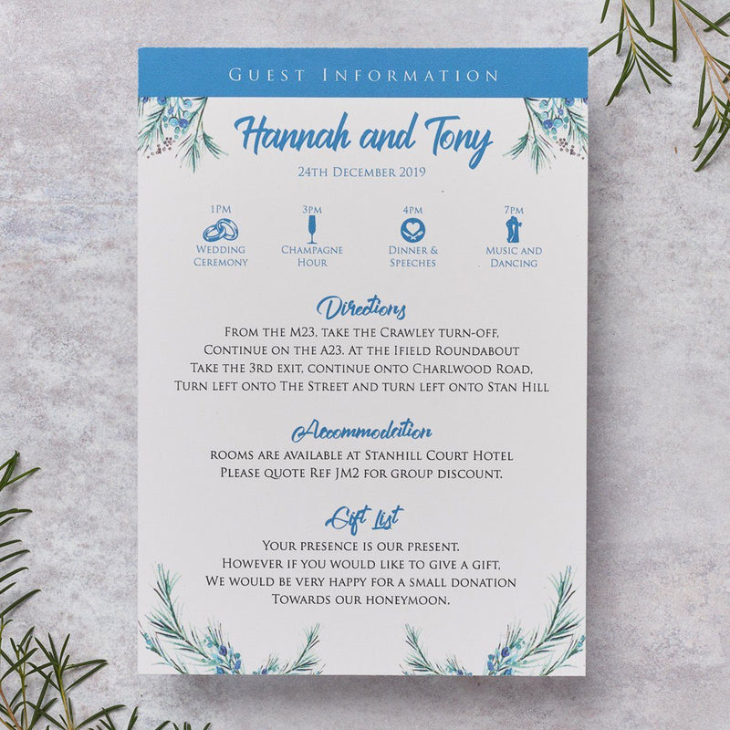 Wedding Invitation - Berries Wedding Itinerary