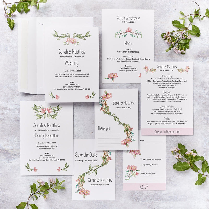 Wedding Invitation - Blossom Design Wedding Invitation  - Sample Pack