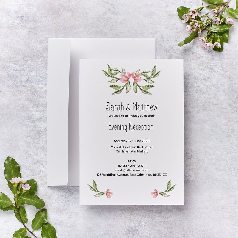 Wedding Invitation - Blossom Wedding Evening Invitation