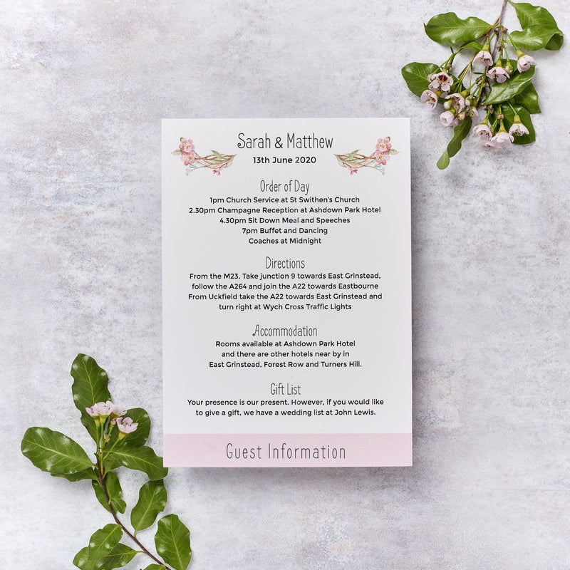 Wedding Invitation - Blossom Wedding Itinerary