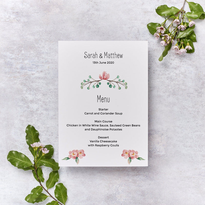 Wedding Invitation - Blossom Wedding Menu