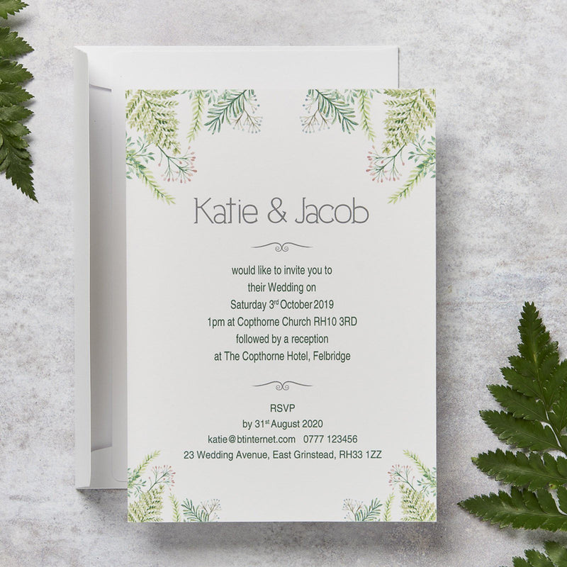 Wedding Invitation - Fern Wedding Day Invitation