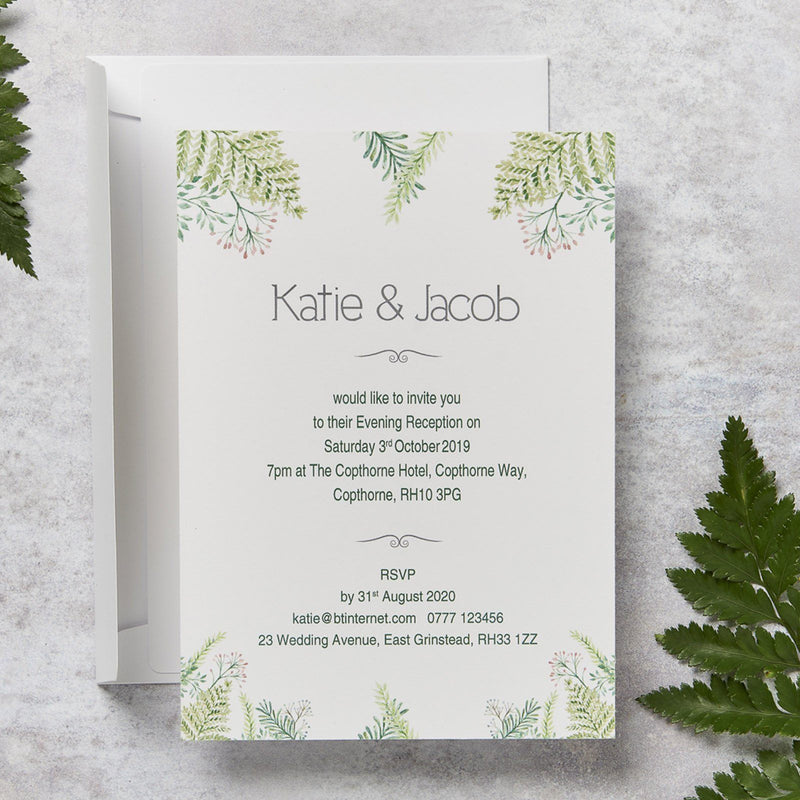 Wedding Invitation - Fern Wedding Evening Invitation