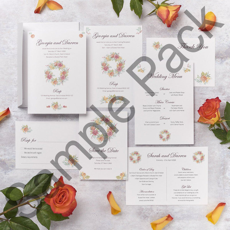 Wedding Invitation - Rose Design Wedding Invitation  - Sample Pack