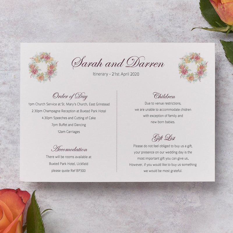 Wedding Invitation - Rose Wedding Itinerary