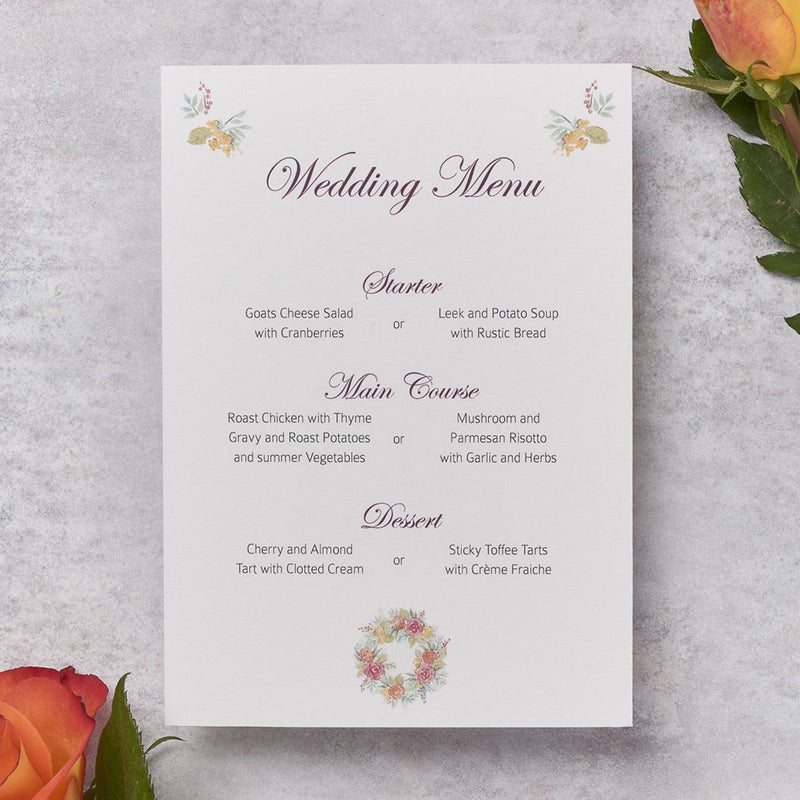 Wedding Invitation - Rose Wedding Menu