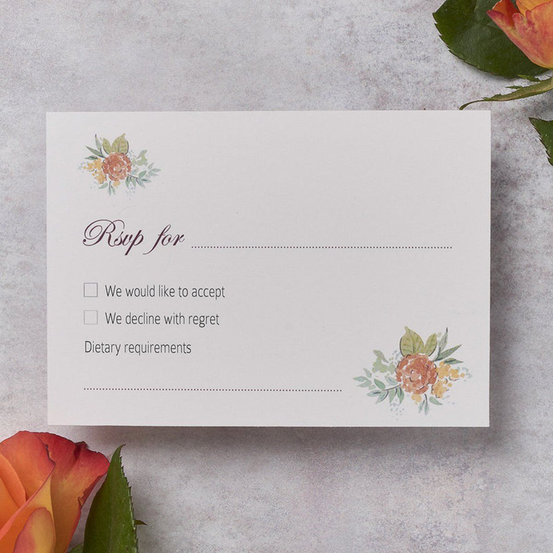 Wedding Invitation - Rose Wedding RSVP