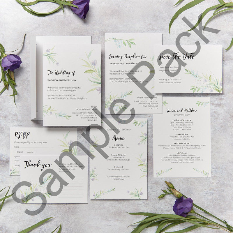 Wedding Invitation - Tulip Design Wedding Invitation  - Sample Pack