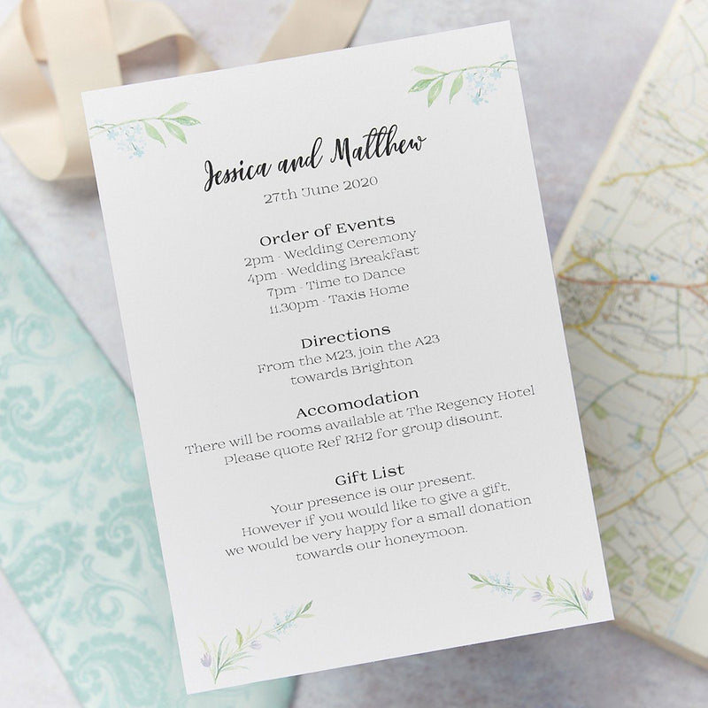 Wedding Invitation - Tulip Wedding Itinerary
