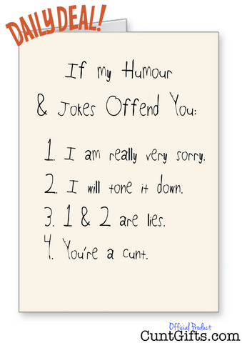 Does My Humour Offend You? Cunt Card