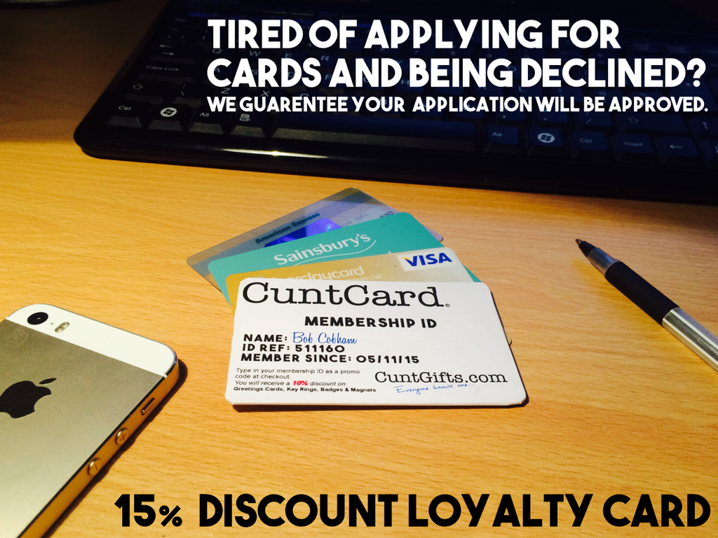 Cunt Card - The Cuntgifts.com 15% Discount Loyalty Card