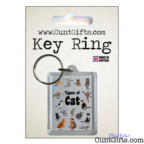 Cats Cunts Keyring in Packaging