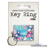 Flower Cunt Keyring in Packaging