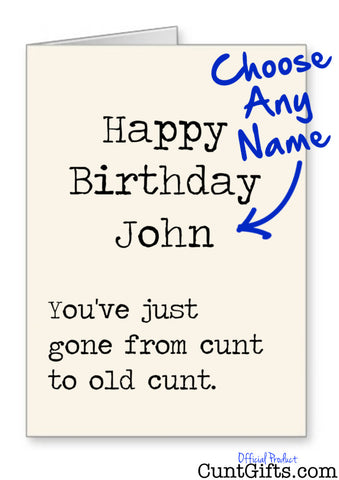 Happy Birthday ANY NAME Old Cunt - Card