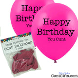 5 Happy Birthday You Cunt Balloons and Packaging Pink