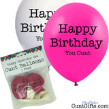 Happy Birthday You Cunt - Balloons - Pink & White - 5