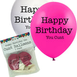 5 Happy Birthday You Cunt Balloons and Packaging Pink and White