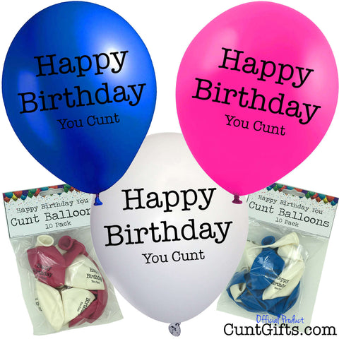 Happy Birthday You Cunt Balloons and Packaging