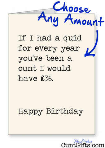 """If I had a quid for every year you've been a cunt"" - Personalised Birthday Card"