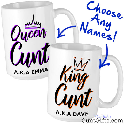 King and Queen Cunt Personalised Mug set