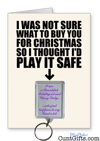 """Classy Lady Who Says Cunt"" -  Christmas Card & Key Ring Combo"