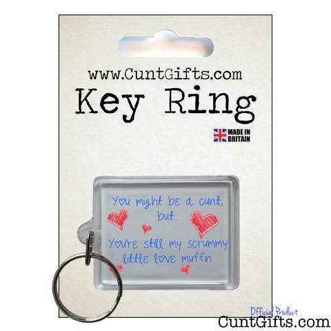 Scrummy Love Muffin Cunt - Key Ring in packaging