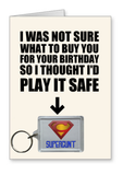 """Supercunt"" - Birthday Card & Keyring Combo"
