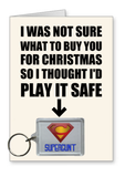 """Supercunt"" - Christmas Card & Keyring Combo"