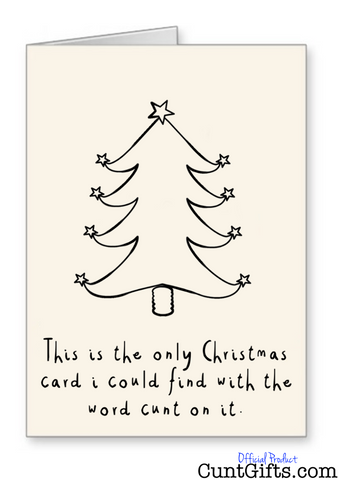 the only christmas card with the word cunt on it christmas card
